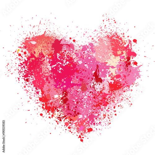 Heart made of spray and drops grunge background © Viktoriia Protsak
