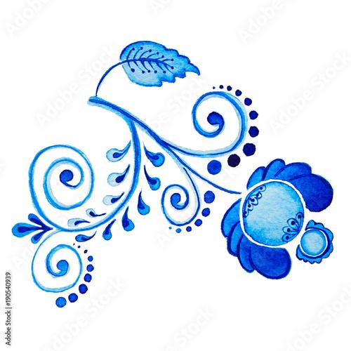 gzhel-akwarela-rysunek-na-bialym-tle-niebieski-kwiat-i-oddzialow-rosyjskie-tradycje-kwiatowy-element