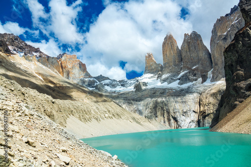 Fotografie, Obraz  Beautiful mountain lake in national park Torres del Paine, landscape of Patagoni
