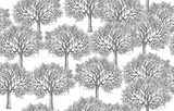 Tree silhouettes seamless pattern,  isolated on white,  handdrawing. - 190543980