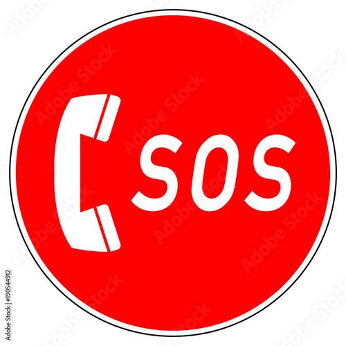 Fényképezés srr334 SignRoundRed - german - Zeichen: eCall / SOS / 112 - Unfallmanagement / N