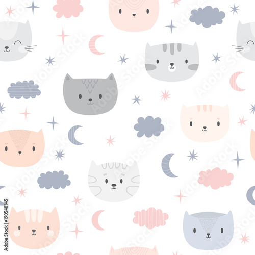 fototapeta na lodówkę Cute seamless pattern for kids with cartoon little cats. Children background. Lovely animals