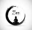 Zen circle with meditation Buddha vector