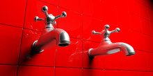 Metal Shiny Water Taps On Red Tiles Background. 3d Illustration