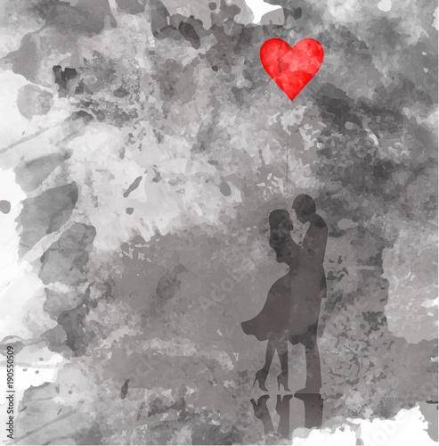 romantyczna-sylwetka-milosci-pary-walentynki-14-lutego-happy-lovers-ilustracja-graficzna-styl-akwareli