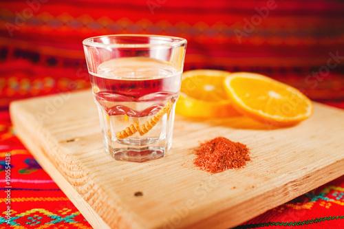 Obraz na plátně Mezcal shot with orange slices and worm salt in oaxaca mexico