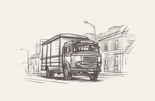 Retro Delivery Truck Illustration. Hand Drawn, Vector, Eps 10.