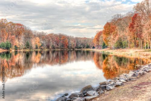 Sunset at Lake Woodglen in Fairfax, Virginia near residential neighborhood, with Canvas Print