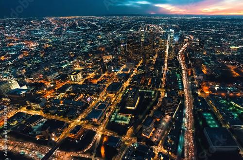 Deurstickers Amsterdam Aerial view of Downtown Los Angeles at twilight