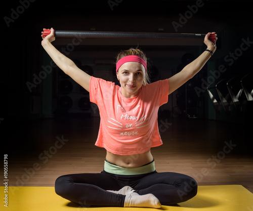 Fotobehang School de yoga young beautiful girl engaged in fitness