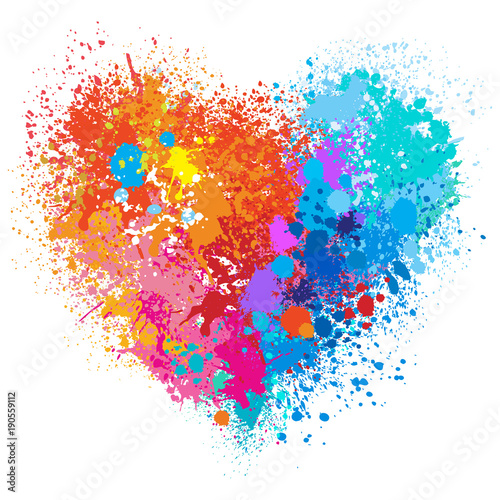 Photographie Vector heart in warm and cold colors