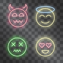 Set Of Neon Glowing Emoticons ...