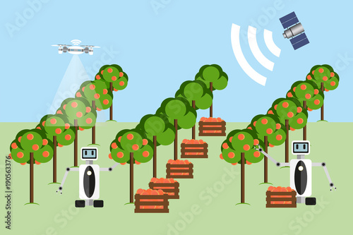Aufkleber - Internet of things in agriculture. Smart farm with wireless control. Vector illustration.