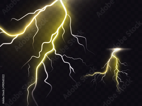 Vector illustration of 3d realistic lightning or thunderbolt isolated on night translucent background Tableau sur Toile