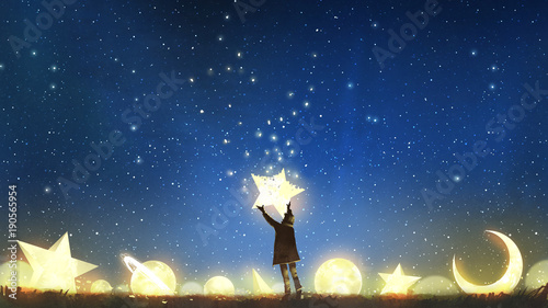 Foto op Aluminium Nachtblauw beautiful scenery showing the young boy standing among glowing planets and holding the star up in the night sky, digital art style, illustration painting