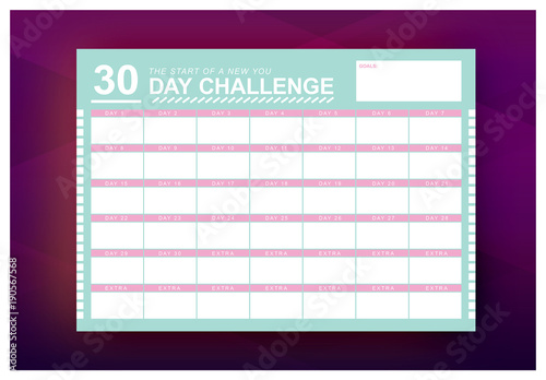 30 day challenge monthly calendar layout 1
