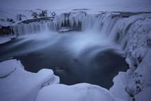 Frozen Waterfall Godafoss In Icey Wonderland Of Iceland Winter