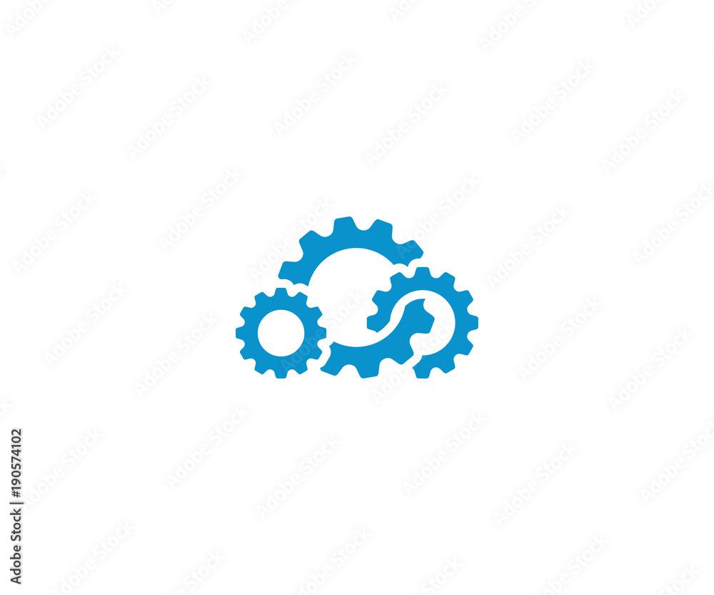 Fototapeta Cloud gear logo template. Cloud computing vector design. Cogwheel cloud illustration