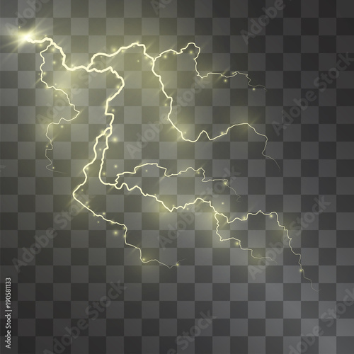 Lightning Vector Light Effect Decorative Golden Glowing Lighting Bolt On Transparent Background With Magical Gleaming