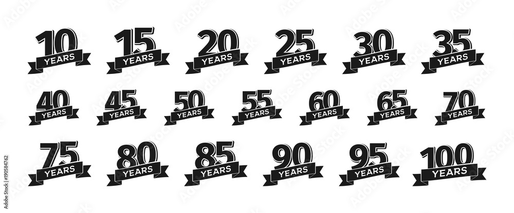 Fototapety, obrazy: Collection of isolated anniversary logo numbers with ribbon vector illustration