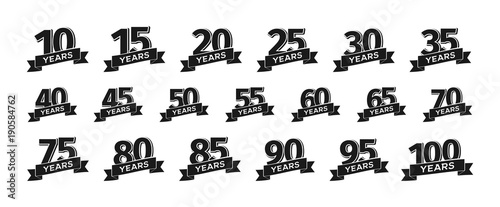 Photo  Collection of isolated anniversary logo numbers with ribbon vector illustration