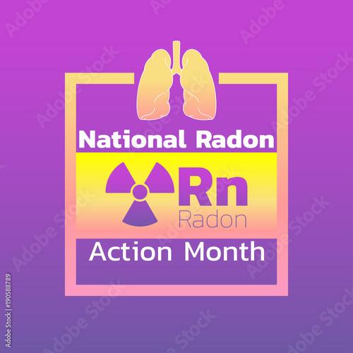 Fényképezés National Radon Action Month icon design. logo vector illustration
