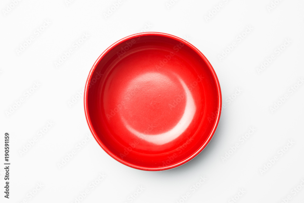 Fototapety, obrazy: Red bowl on white background