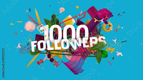 1000 followers greeting card Fototapet