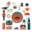 set of vector flat style London icons