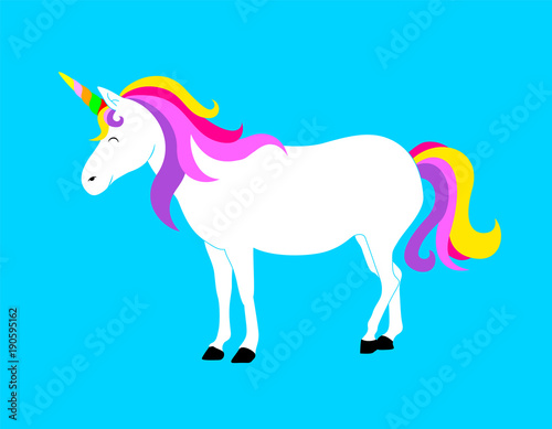 Garden Poster Pony Cute magic Unicorn. Cartoon fantasy animal. Vector illustration isolated on blue background. Dream symbol. Design for children.