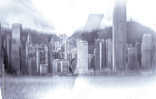 Double exposure of businessman and Hong Kong city view in blue color Poster