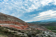 Amazing striped red mountains