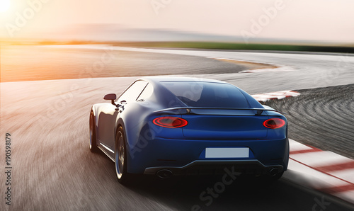 blue sports car driving on racetrack, photorealistic 3d render, generic design, non-branded