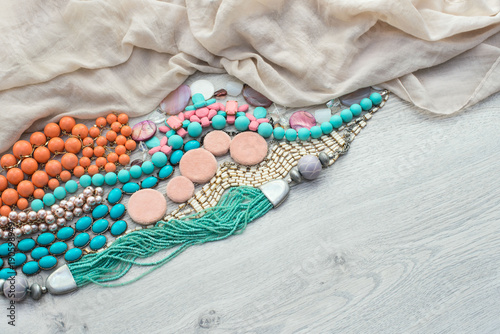 Set of vintage costume jewellery beads, necklaces, bracelets