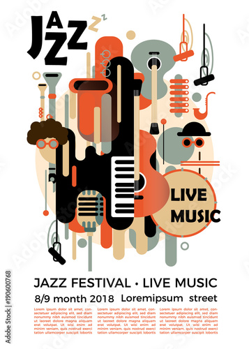 Photo A poster for a jazz festival with musical instruments