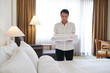 Preparing hotel room