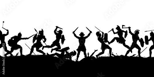 Fotomural Ancient battle scene silhouette