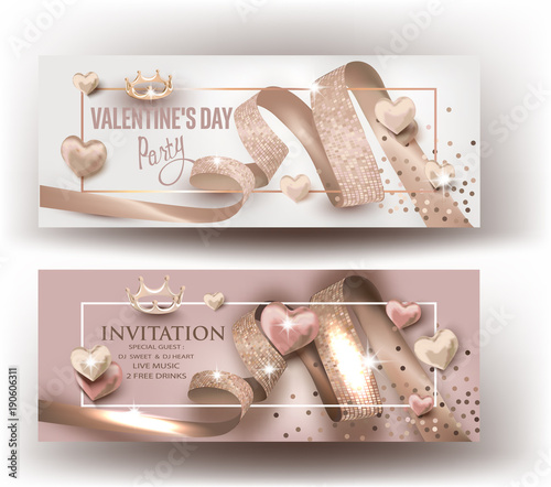 Valentine S Day Party Invitation Beige Cards With Curly