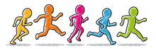 Farbige Strichmännchen: Jogger / Läufer / Laufgruppe – Set
