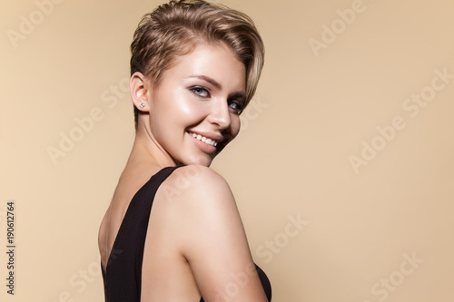 Recess Fitting Hair Salon Young smiling woman with modern short hairstyle, studio portrait. Smiling cute female model, close up portrait, isolated on white. Concept of glamour, beauty and fashion.