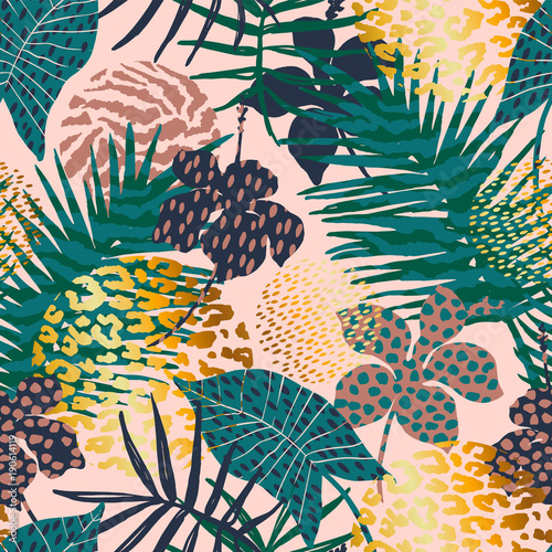 Tuinposter Vlinders Trendy seamless exotic pattern with palm, animal prints and hand drawn textures.