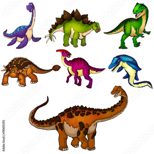 Photo  Set of dinosaurs. Isolated vector illustration.