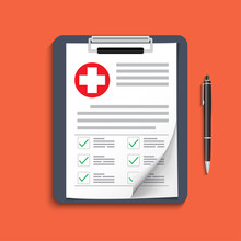 Clipboard With Medical Cross And Pen. Clinical Record, Prescription, Claim, Medical Check Marks Report, Health Insurance Concepts. Premium Quality. Modern Flat Design Graphic Elements.