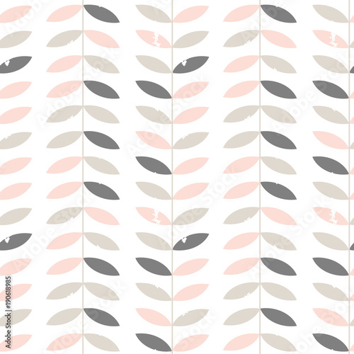 Seamless floral pattern with textured twigs and leaves in retro scandinavian style Fototapeta