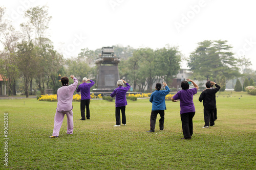 Fotografía  Elderly people doing tai chi exercises