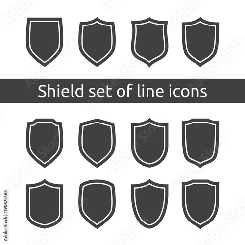 Shield Logo Symbol Icon Set With Outline Line Style Vector Illustration Template Concept For Security