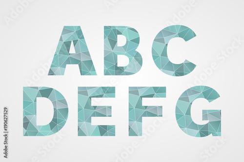 A B C D E F G Polygonal Geometric Letters Decorative Blue Geometric