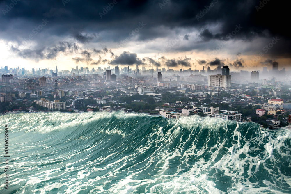 Nature disaster city destroyed by Tsunami waves