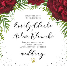 Wedding Floral Watercolor Invite, Invitation Card Design With Red Burgundy Garden Rose Flower, Palm Leaves, Green Berries, Elegant Greenery And Black Polka Dot Decoration. Vector Natural Modern Layout