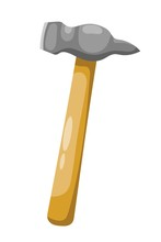 Color Image Of A Of Hammers On A White Background. Vector Illustration Of A Set Of Hammers In Cartoon Style